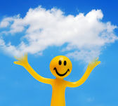 A happy face holding a cloud — Stock Photo