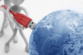 USB plugs into earth. Conceptual — Stock Photo