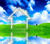 New house imagination vision on green me — Stock Photo