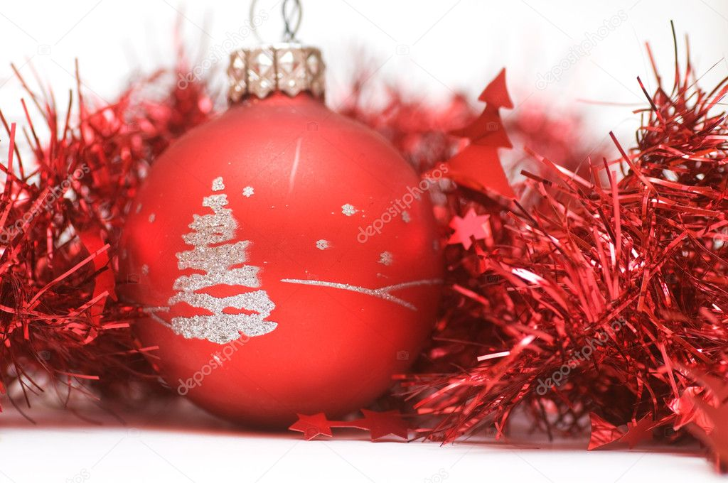 Christmas ball in red decoration. Isolated on white — Stock Photo #2030836