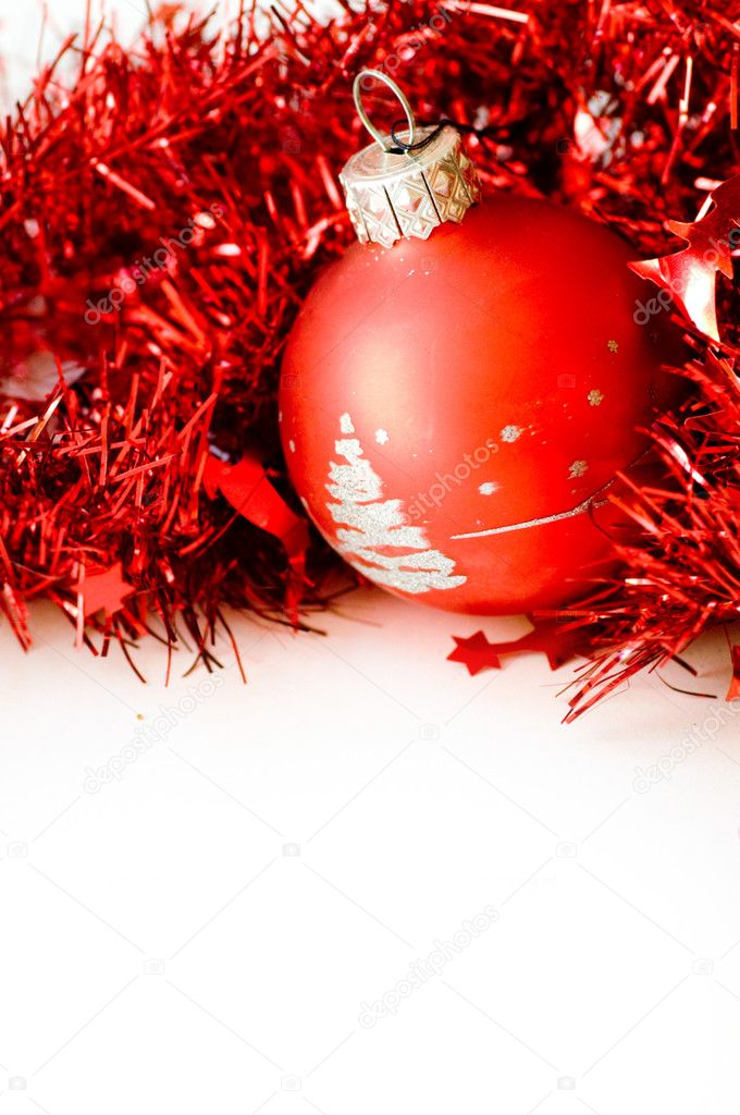 Christmas ball in red decoration. Isolated on white. Space for your text.  Stock Photo #2030963