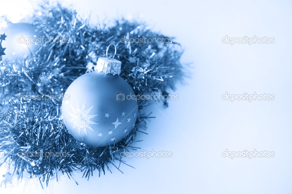 Christmas ball in blue decoration. Isolated on white. Space for your text. — Stock Photo #2030967