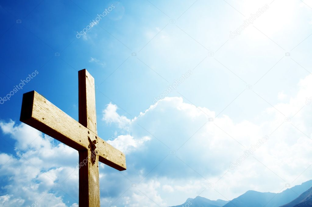 Cross on the blue sky. Religion, christian concepts  Lizenzfreies Foto #2035277