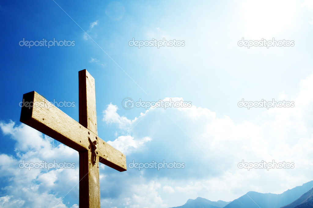 Cross on the blue sky. Religion, christian concepts  Stock Photo #2035277