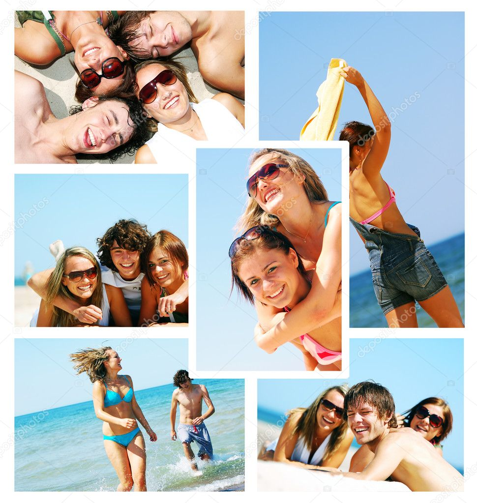 Memories from holidays. Picture of friends on the beach in collage style. — Stock Photo #2036556