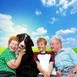 Grandparents, grandson and dog — Stock Photo #2044849