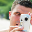 Man taking picture on holidays — Stock Photo