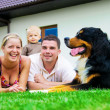 Happy family and house - Stok fotoğraf