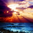 Surrealistic sunset seascape - Stock Photo
