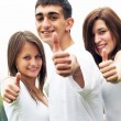 Stock Photo: Happy friends giving okey sign