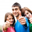 Happy friends giving okey sign — Stock Photo #2048123