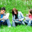 Young students learning outdoor - Stock Photo