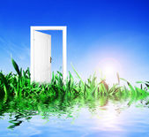 Door open to new world — Stock Photo