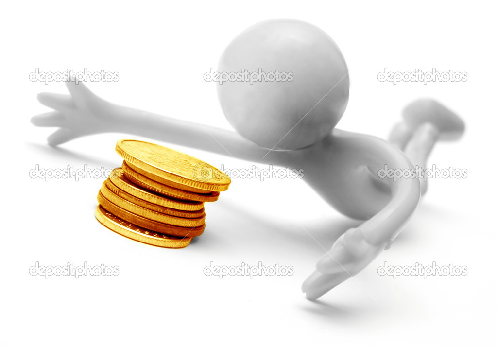 Human figure and money coins. Conceptual on white background — Stock Photo #2043621