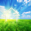 New home imagination on green meadow - Foto Stock