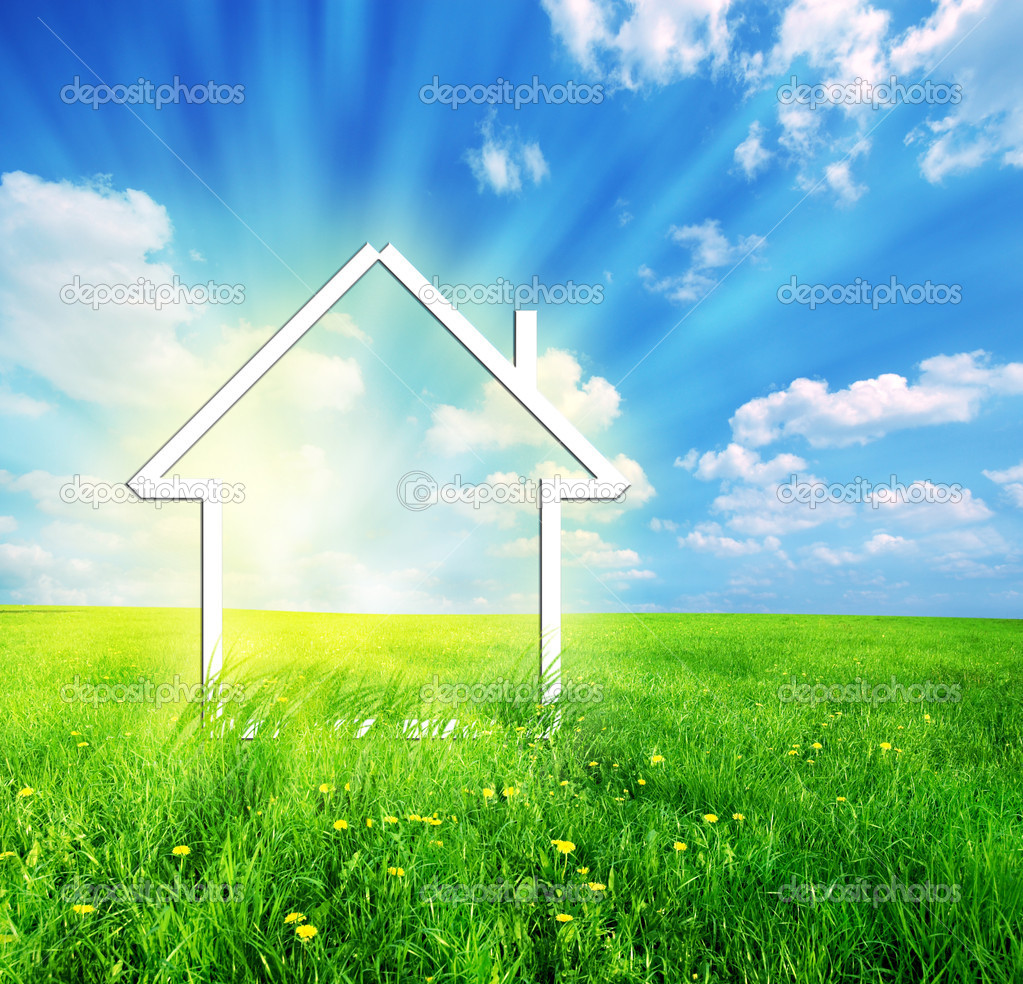 New house imagination vision on green meadow. Conceptual image  Stock Photo #2053965