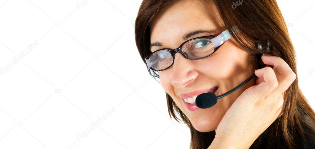 Friendly customer service agent smiling during telephone conversation — Stock Photo #2054808