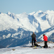 Winter mountain climbing — Stock Photo