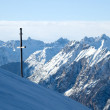Winter mountains with cross — Stock Photo
