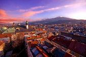 Alpine town in sunset — Stock Photo