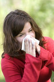 Alergic sneezeing — Stock Photo
