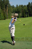 LADY GOLFER SWING — Stock Photo