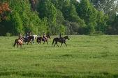 Rural horsemen in Moscow region — Stock Photo