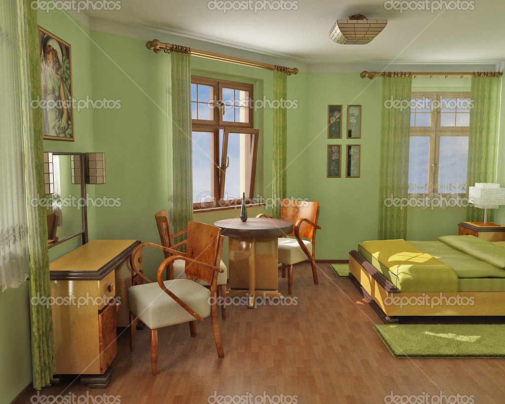 3D render of elegant hotel room — Stock Photo #1748402