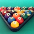 Billiard balls triangle — Stock Photo