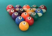 Billiard balls triangle — Stock Photo