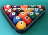 Billiard balls triangle — Stockfoto