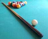 Billiard balls and table — Stock Photo