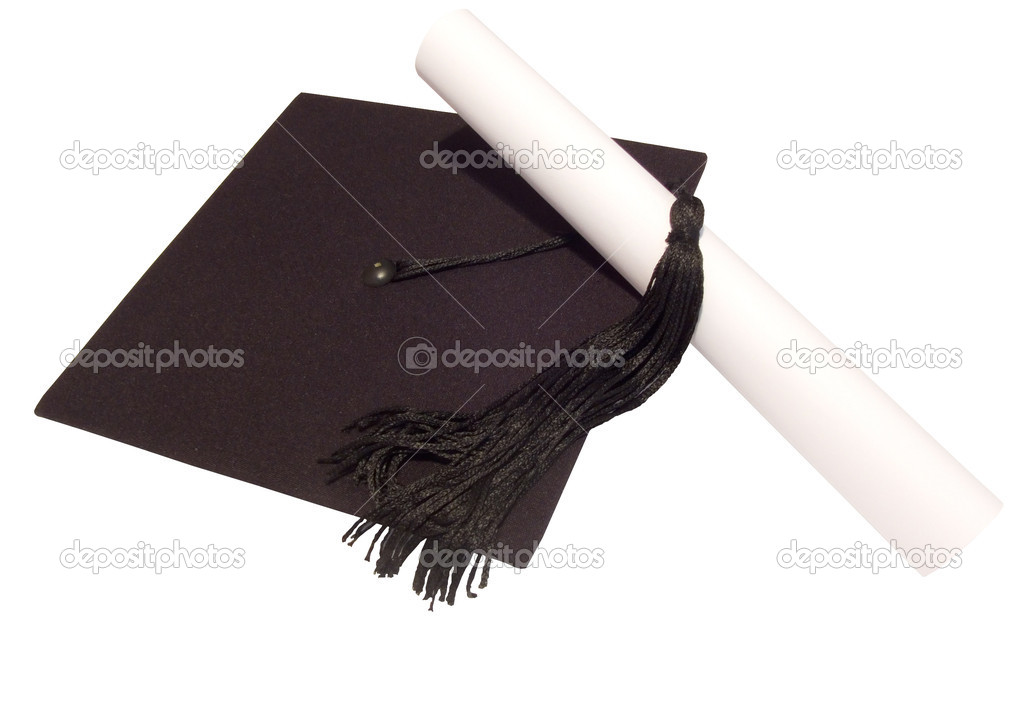 Graduated student hat and diploma isolated on white, with clipping path  Stock Photo #2170611