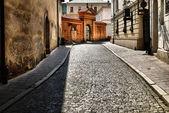 Antiga rua em cracóvia, polónia. — Foto Stock