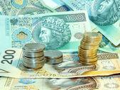 Bankovky a mince — Stock fotografie