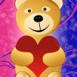 Teddy on abstract background — Stock Photo