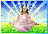 Girl meditation — Stock Vector