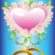 Floral background heart — Stockvectorbeeld