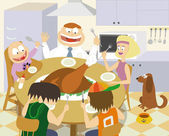 Thanksgiving family — Vector de stock