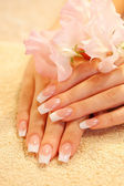 Hands of young woman with manicure — Stockfoto
