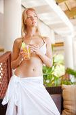 Girl in a white sarong — Stock Photo