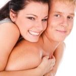 快乐少年情侣拥抱 — 图库照片