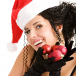 Young woman in Santa's hat — Stock Photo #1769621