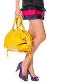 Legs and a bag — Stock Photo