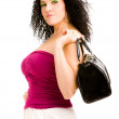Stock Photo: Woman with a black handbag