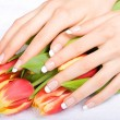 Manicure and tulips — Stock Photo #1774710