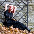 Redhead flirty goth girl — Stock Photo #1775442