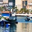 Maltese boats in a bay — Stock Photo