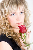 Close-up of the young blond girl face — Stock Photo