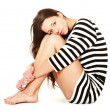 Girl in sweater with stripes - Stockfoto
